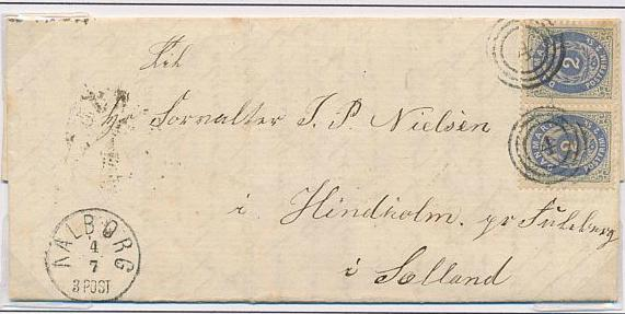 1871. 2 sk. 1.tryk, ultramarin. Page with 3 copies + pair on fine cover. Incl. INVERTED WATERMARK