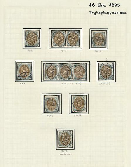 1875-1895. 16 øre, grå/brun. Fin special-samling på 15 sider. Se fotoudsnit!