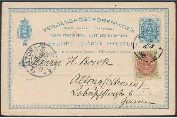 1896. 2 cents, stationery, blue. Opgraded with 1 cents, red/green, perf.14, sent to Germany