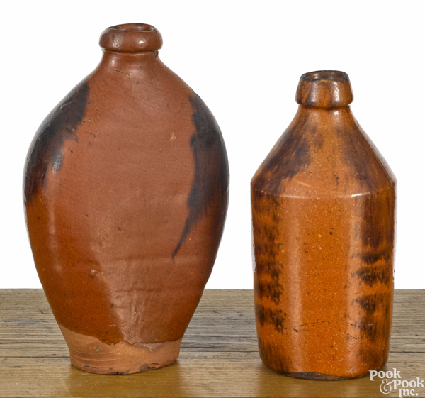 Pennsylvania redware flask and bottle