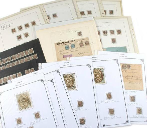 1875-1895. 16 øre, grå/brun. Større special-samling på albumsider