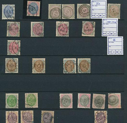 Denmark. Bicoloured. Stock on pages. Mainly 4 and 8 øre.