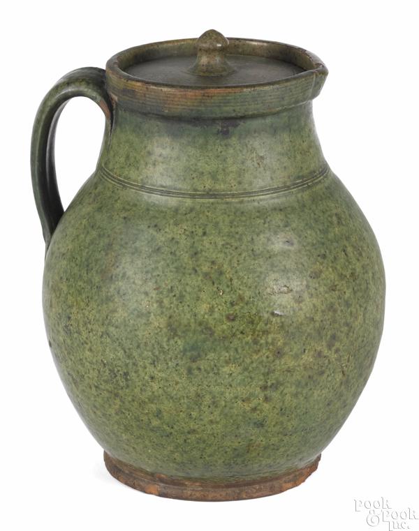 Bristol, Massachusetts redware pitcher and cover