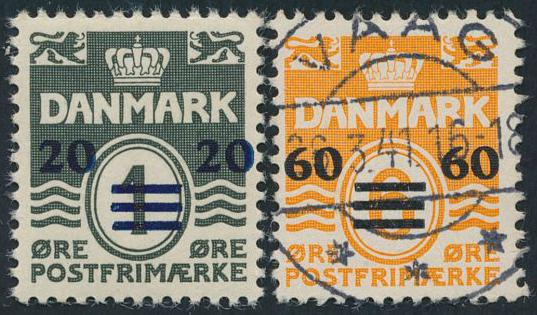 1940-1. Overprints, 20/1 øre, II. issue, very small trance in gum + 60/6 øre, I. issue