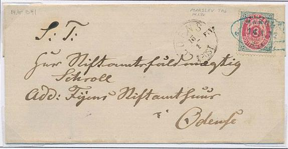 1875. 8 øre, 14.print. Page with cover canc. with oval blue canc. MAARSLEV 14.1.1879