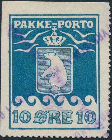 10 øre, blue. 2.printing. Imperforated on 2-sides. Very fine used copy. AFA 4800