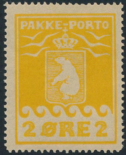 2 øre, yellow. 2.printing. Thin grey warpaper. NH copy. AFA 8500