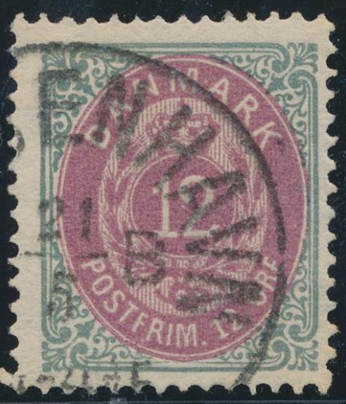 1875. 12 øre, 9.print, pos. 61 inverted frame. Fine used copy. Cert. Jensen