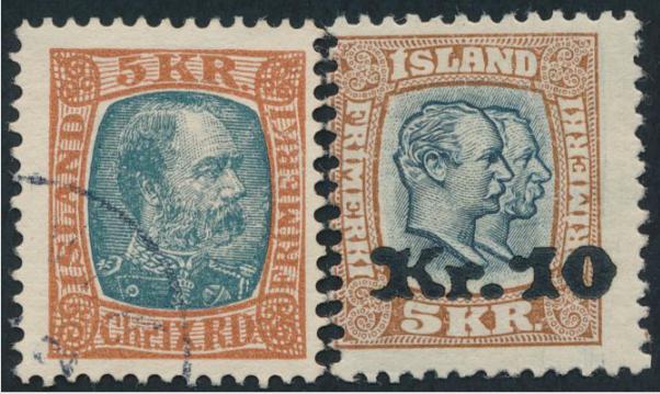 1904-30. Chr. IX 5 kr. redbrown/grey + Overprint 10 kr/ 5 Kr brown/bluegrey. 2 better copies. AFA 6000