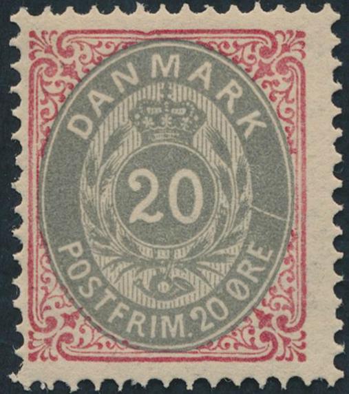 1875. 20 øre, inverted frame
