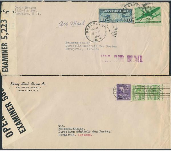 1941-1945. 7 censored coverse sent from USA to Iceland