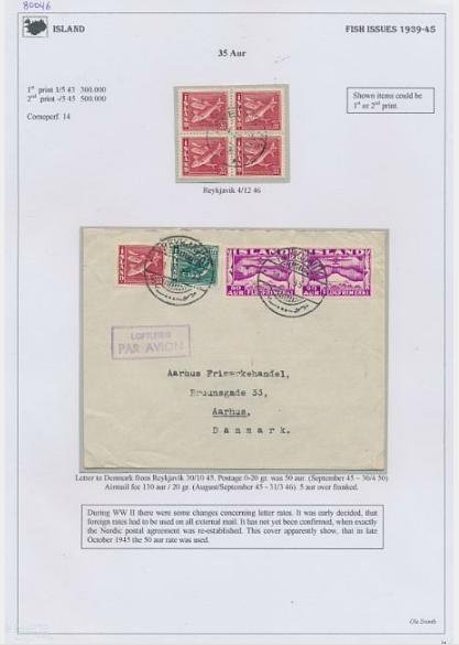 """Iceland. 1939-1945. Specialized coll. """"FISH"""" mounted with better perf. many covers, canc. etc."""