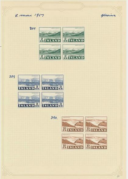 Iceland. Old binder with better sets, incl. many blocks of 4. Also some 16 aur oval issue.