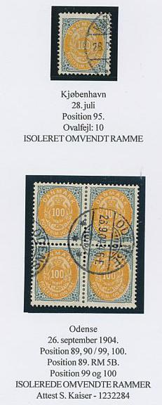 1903. 100 øre, 9.print. Page with 3 copies INVERTED FRAMES. Scarce. One cert. Kaiser