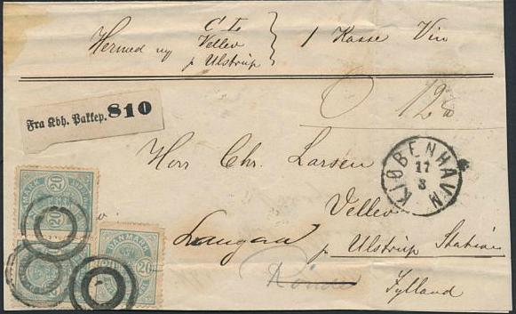 1882. 20 øre, blue. Small ciffer