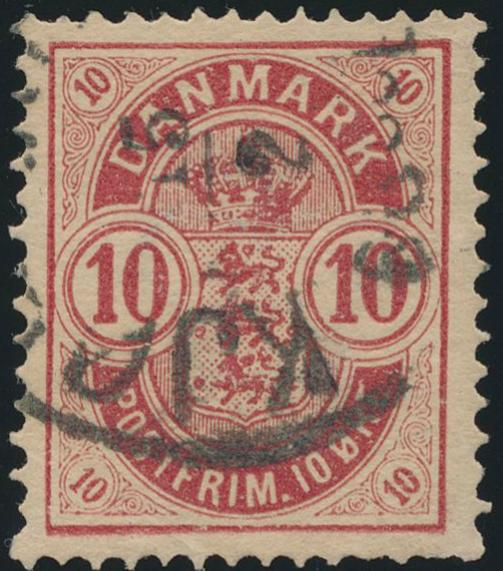 1884. 10 øre, 6.print, pos. A96 small ciffers. Used copy with some faults. Opinion Nielsen