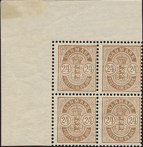1901. 24 øre, brown. 3 pages with NH block of 4 + many varieties