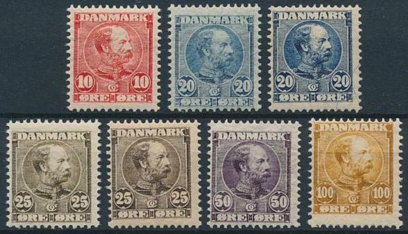 1904-5. Chr. IX. 10 - 100 øre. 7 NH copies. AFA 4220