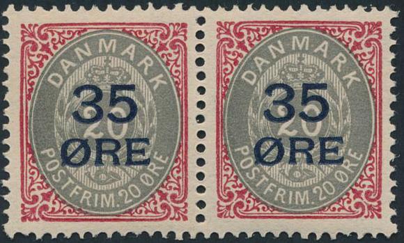 1912. 35/20 øre, rød/grå. Perfekt centreret postfrisk parstykke. AFA 2560