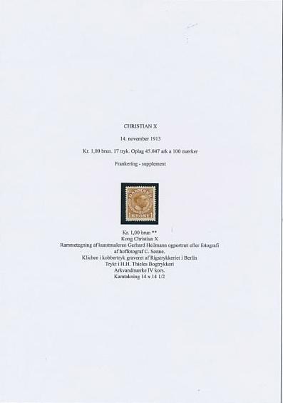 1913. Chr. X. 1 kr. Yellow-brown. SUPERB NH copy