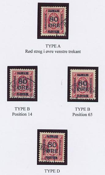 1915. Overprint. 80/8 øre, rose. Page with 4 beautiful used copies