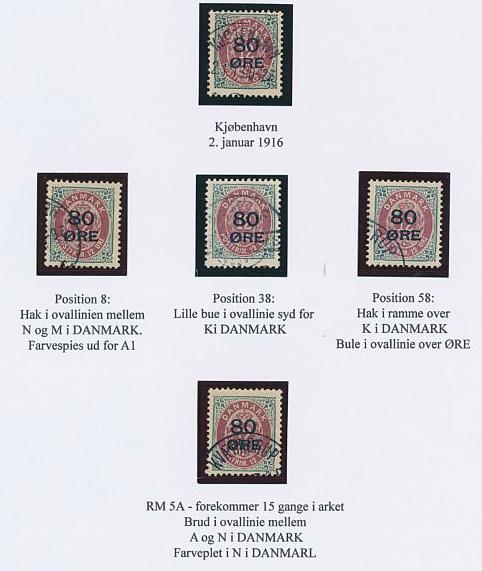 1915. Overprint. 80/12 øre, grey/red. Page with 5 used copies with varieties erc.