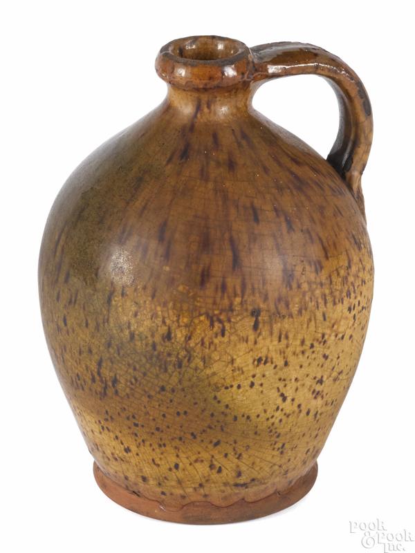 New England ovoid redware jug