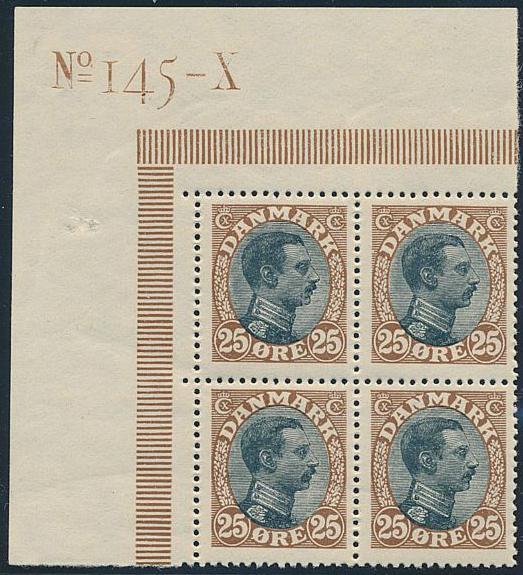 1918. Chr. X. 25 øre. brown/black. SUPERB NH block of 4. AFA 4800++