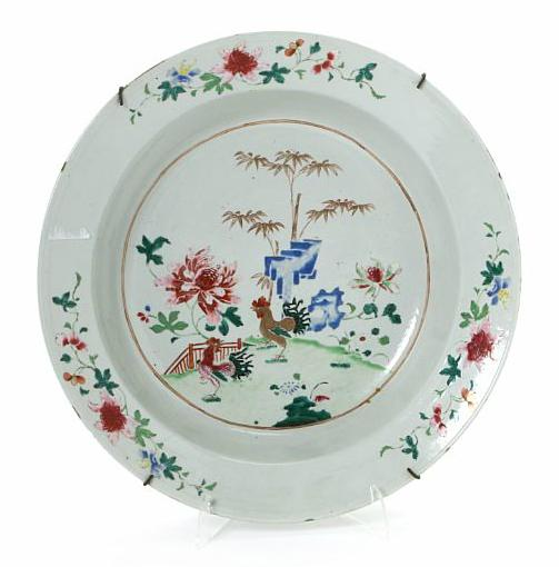 Chinese famille rose porcelain wash basin. Qianlong 1736-1795. Diam. 38 cm