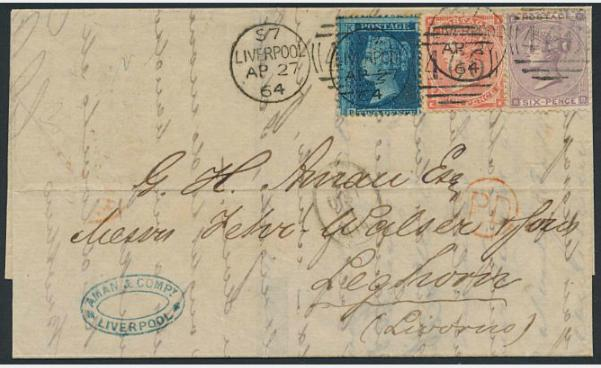 England. 1864. Victoria. Beautiful 3-colour franking on cover to Livorno, ITALY.