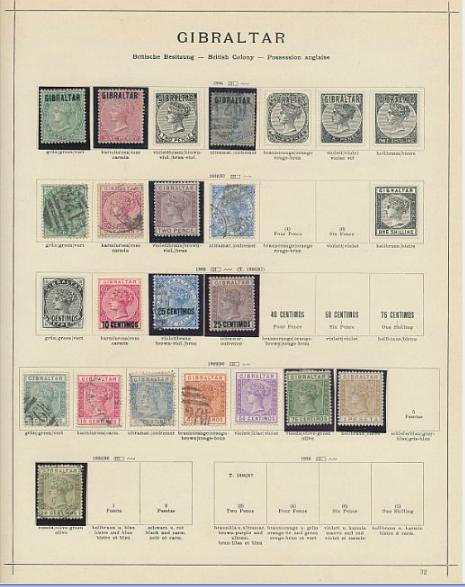 Gibraltar. Collection on album pages with better older issues incl. high values.
