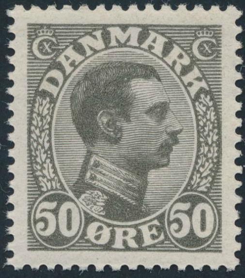 1921. Chr. X. 50 øre, olive-grey.