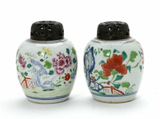 Two Chinese Qianlong 1736-1795 famille rose porcelain bojans.
