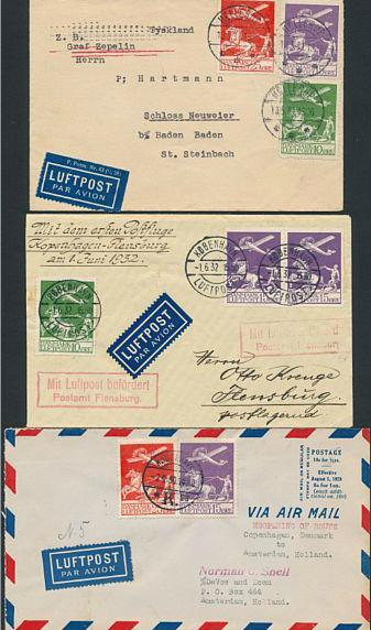 1925. Airmail. 3 beautiful covers. One stamp with perf. faults