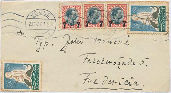 1926. Overprint. 7/27 øre, red7black.