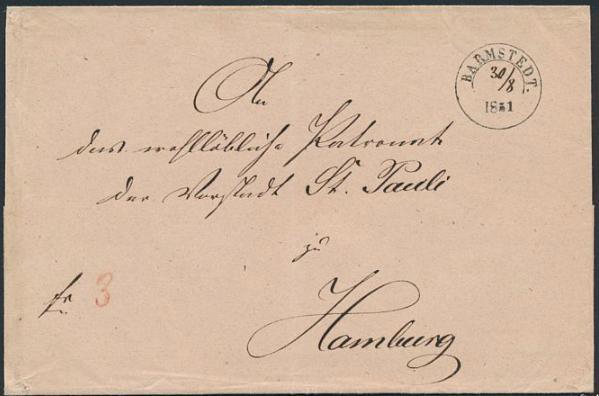 """Schleswig-Holstein. 1851. Cover to Hamburg, cancelled """"AHRENSBÖCK 19.5.1855"""" with handwritten date."""