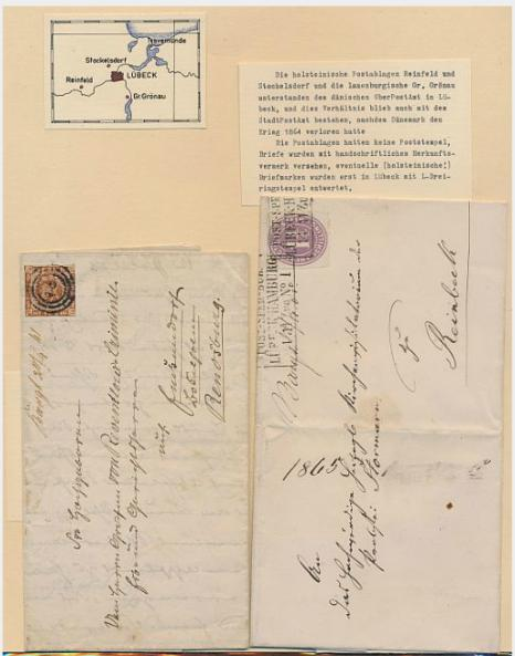 """Schleswig-Holstein. 1856-1864. 5 covers, all with HANDWRITTEN towns """"Reinfeld"""" and Bargteheide"""""""