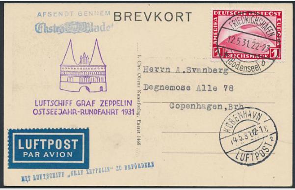 German Reich. 1931. 1 RM, Zeppelin, red. ZEPPELIN-card sendt to DENMARK.