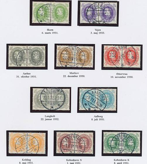 1930. Chr. X 60 år. 2 udstillingsplancher med komplet LUX-stemplet sæt og komplet sæt i pragtstemplede parstykker