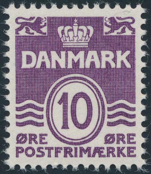 1938. Bølgelinie. 10 øre, violet. Variant: DOBBELTPRÆG. Postfrisk. AFA: 1700