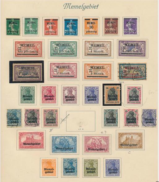 German Reich. Memel. Old collection on 7 pages with better stamps and sets, Airmail and Occup. of Lithuania.