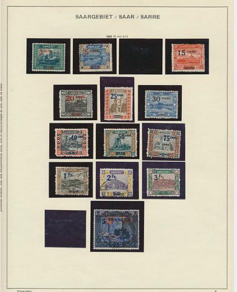 Saar. 1920-1958. Collection in a Schaubek-album.