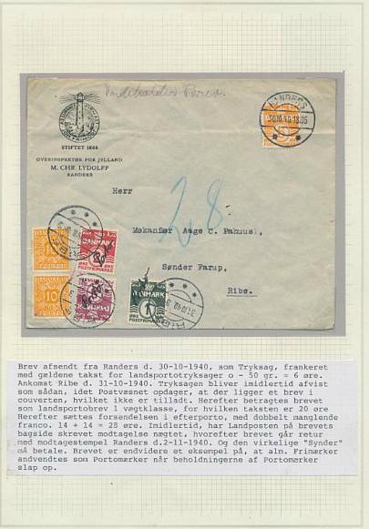1940. Underfrankeret reklamekuvert, der er sat i strafporto og påsat 2 stk