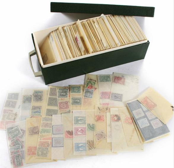 Austria. Box with stamps incl. many nh stamps and blocks of four.