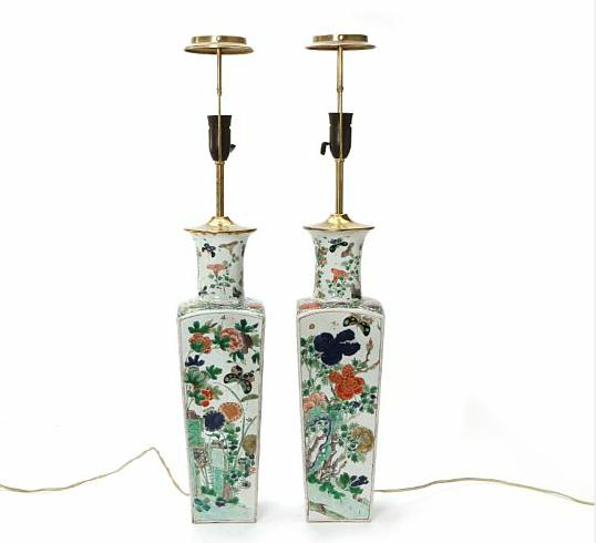 A pair of Chinese famille verte forursided porcelain vases decorated in colours with birds, flowers and poetry