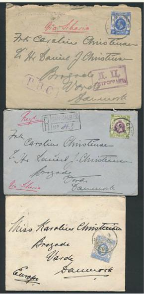 Hong Kong. 1910-1915. 3 older covers, all sent to Denmark with full letter indside (written in danish).