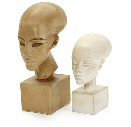 """""""Princess Meritaton"""" two casts of Egyptian heads, one patinated"""