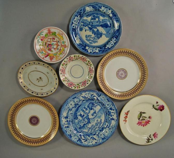 collection of six English botanical specimen porcelain plates