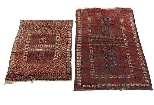 A Turkmen Engsi Esari and Tekke, classic design with repeating pattern on red base