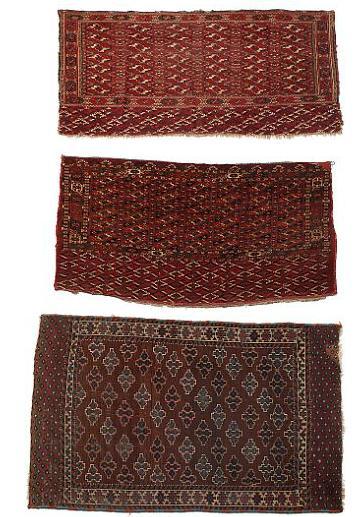 To Tekke Chuval og Ymoud tæppe, klassisk design på rød og brun bund